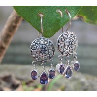 Bali silver motif earrings carved round stone amethyst