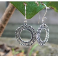 Bali silver earrings translucent carving