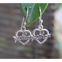 Anting perak motif love mother