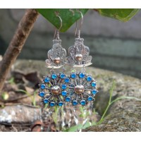 Bali silver motif earrings carved round