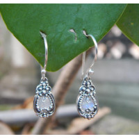 Bali silver earrings carved stone rainbow moonstone