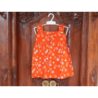 Dress Cotton Anak Warna Orange Motif Bola-Bola