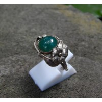 Handmade silver ring carved floral motifs