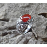 Bali silver ring motifs carved carnelian patra