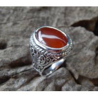 Bali silver ring carved translucent carnelian