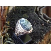 Bali simple silver ring carved agate