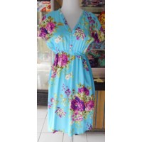 Dress Wanita Motif Bunga Warna Biru Cerah