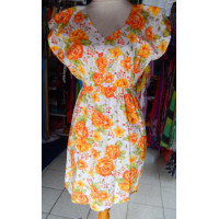Dress wanita warna putih motif bunga orange