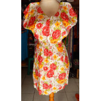 Dress wanita motif bunga warna merah-orange